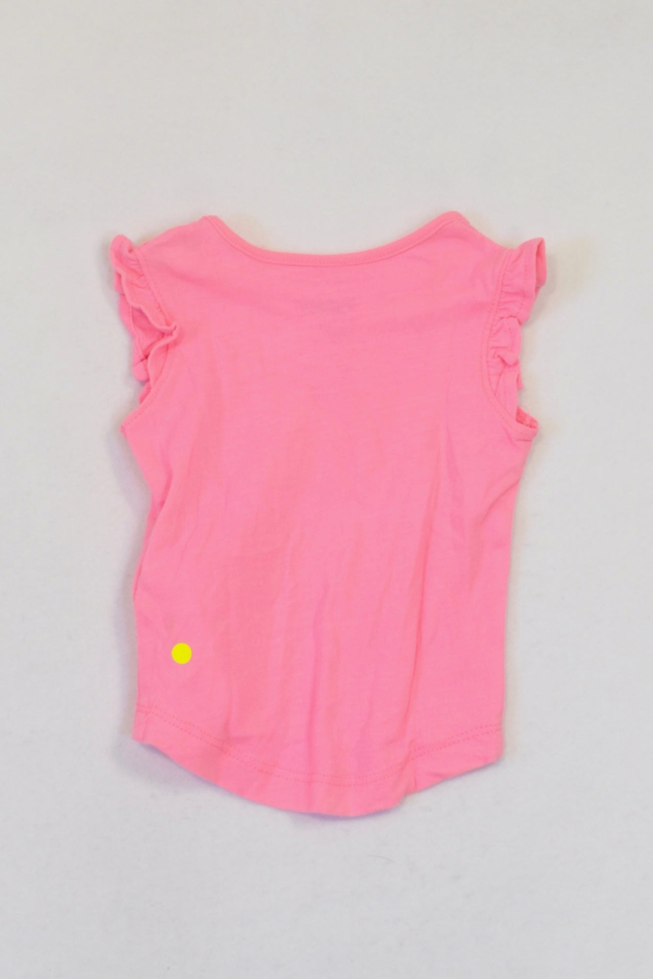 Cotton On Bright Pink Flower Frill Trim T-shirt Girls N-B