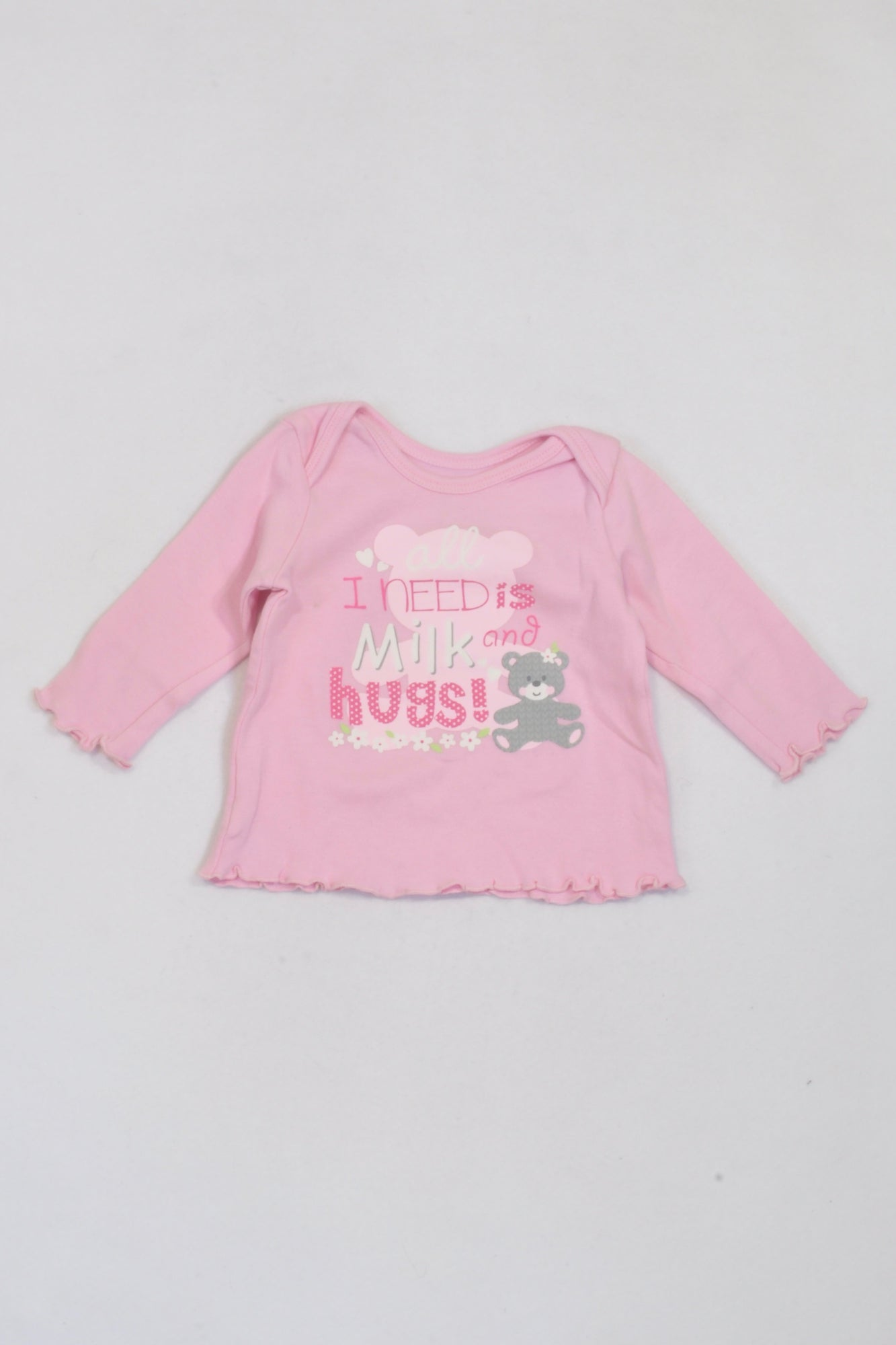 Woolworths Pink All I Need Is Milk T-shirt Girls 3-6 months