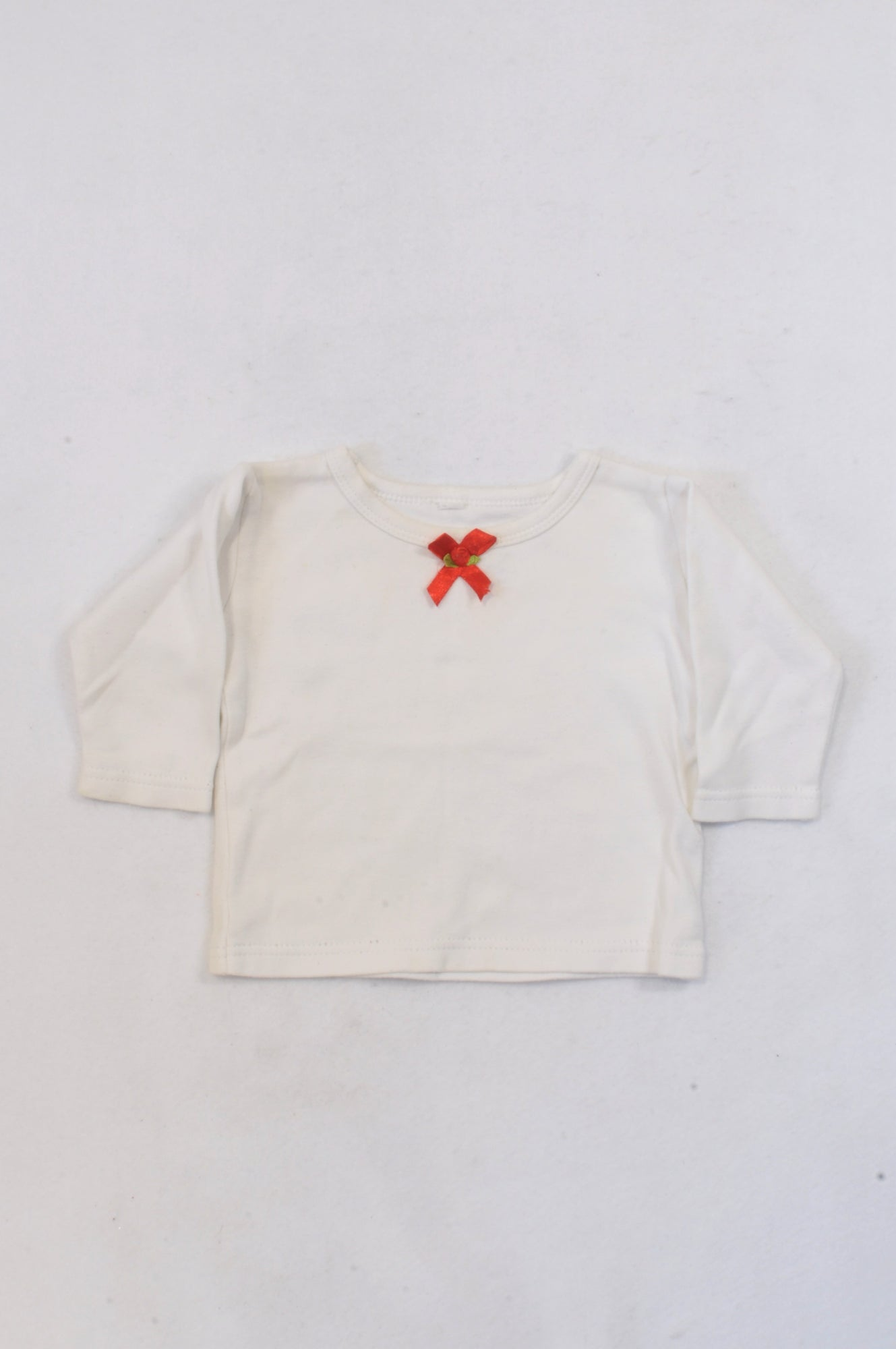 White & Red Bow Top Girls 3-6 months