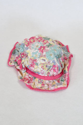 Monsoon Pink Floral Frill Hat Girls 3-6 months