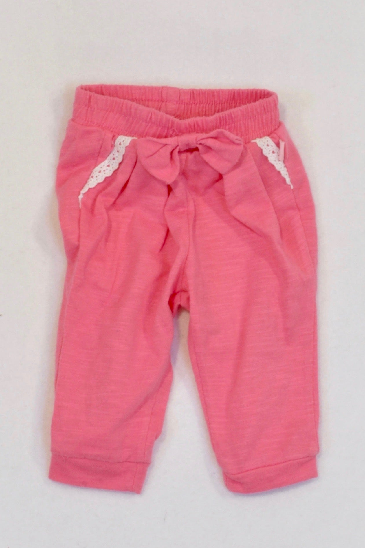 Ackermans Pink Embroidered Lightweight Cuffed Pants Girls 0-3 months