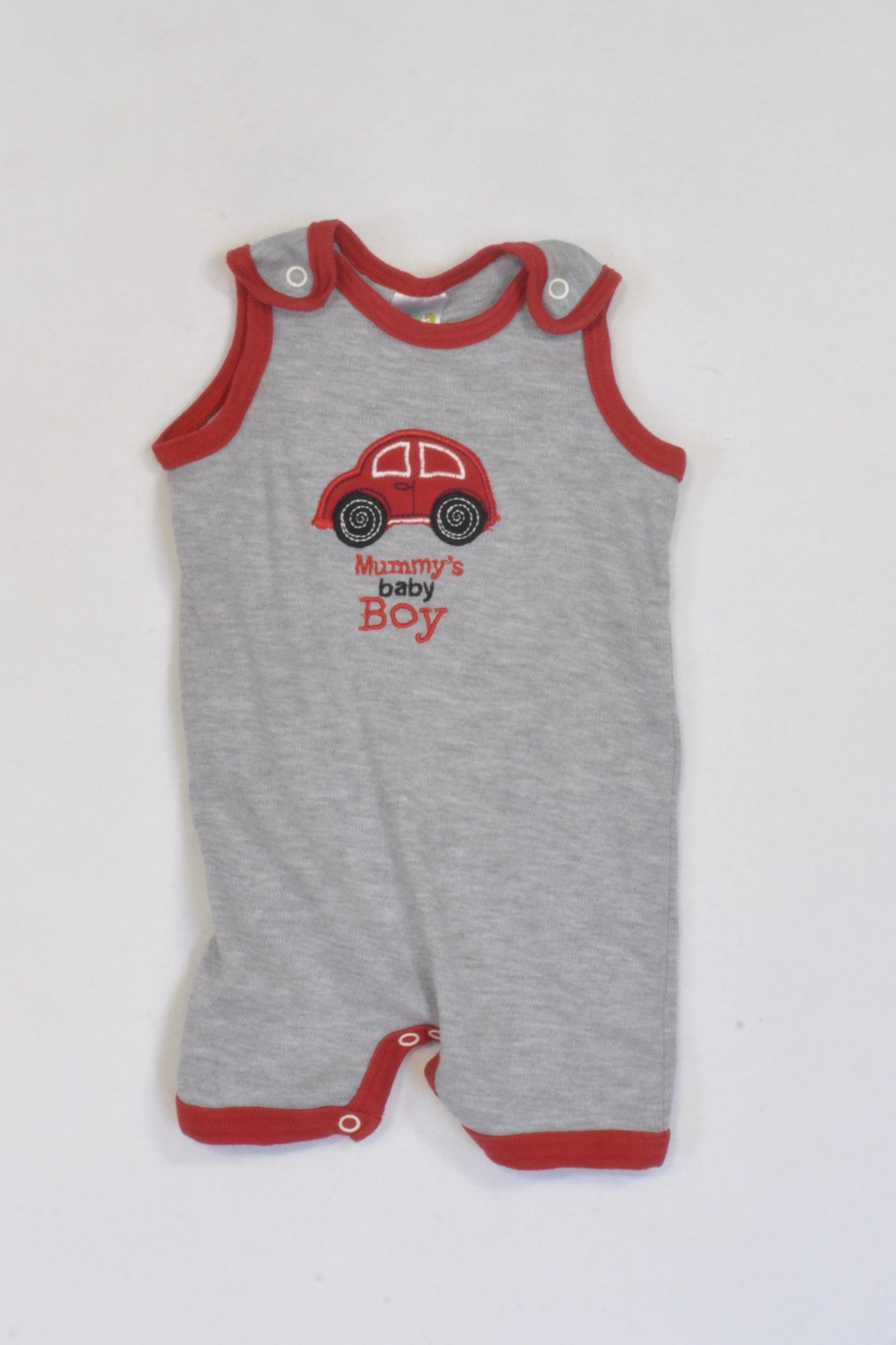 Ackermans Red Trim Mummy's Boy Dungarees Boys 3-6 months