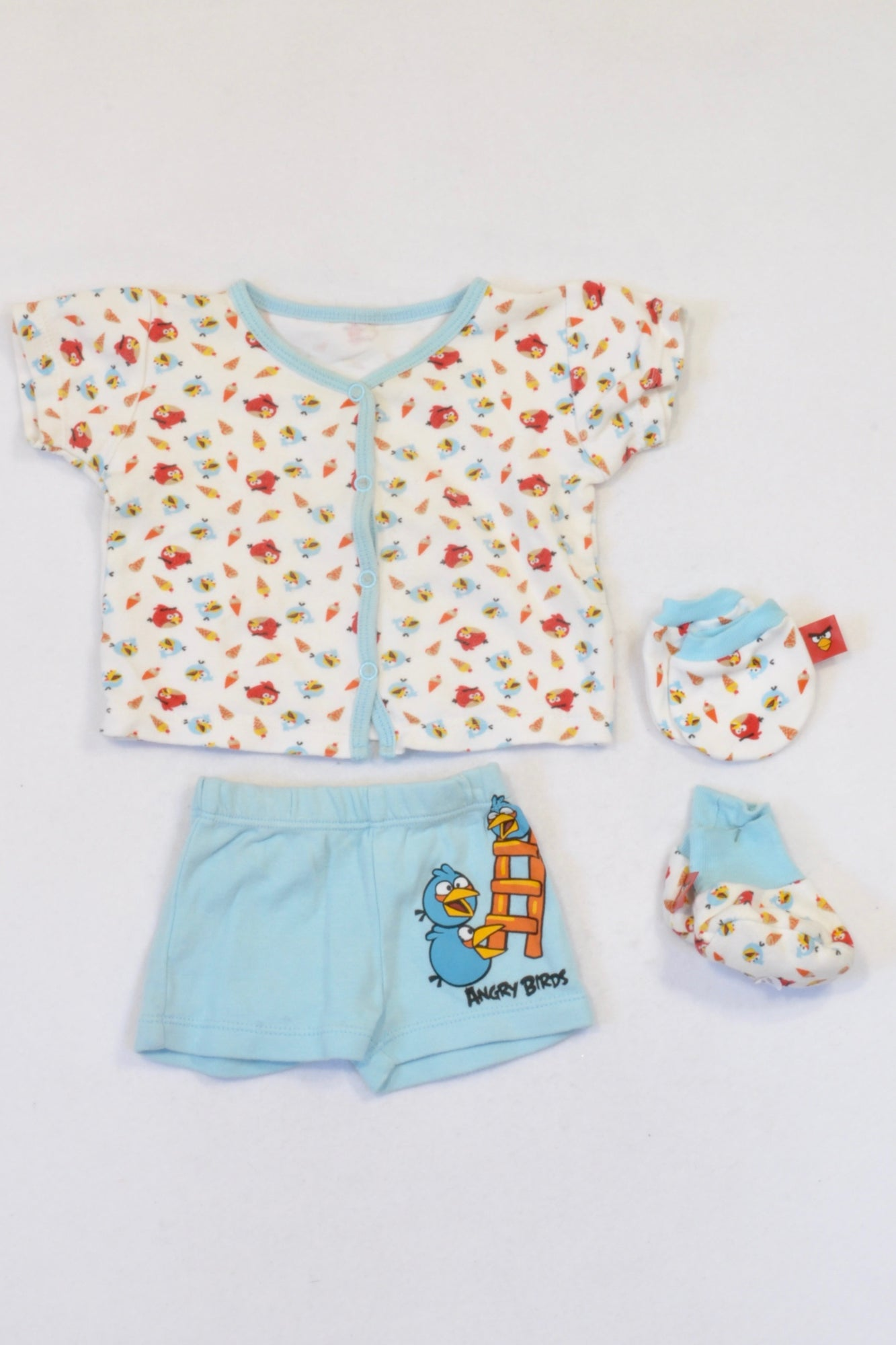 White & Blue Angry Birds Top, Shorts & Booties Outfit Boys 0-3 months