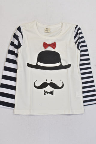 New Cream And Navy Stripe Moustache T-shirt Girls 6-7 years
