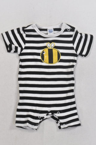 Black And White Stripe Bee Romper Unisex N-B