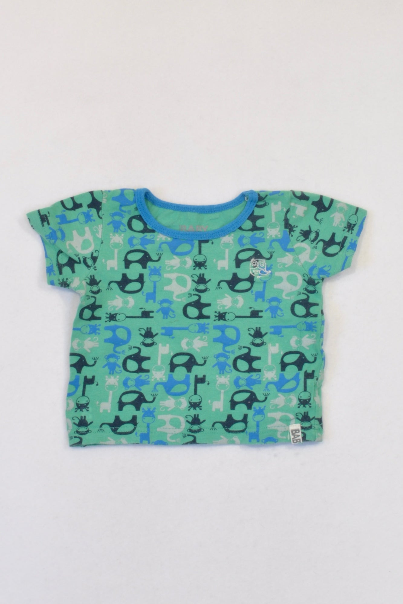 Cotton On Green Safari Animal T-shirt Boys 3-6 months