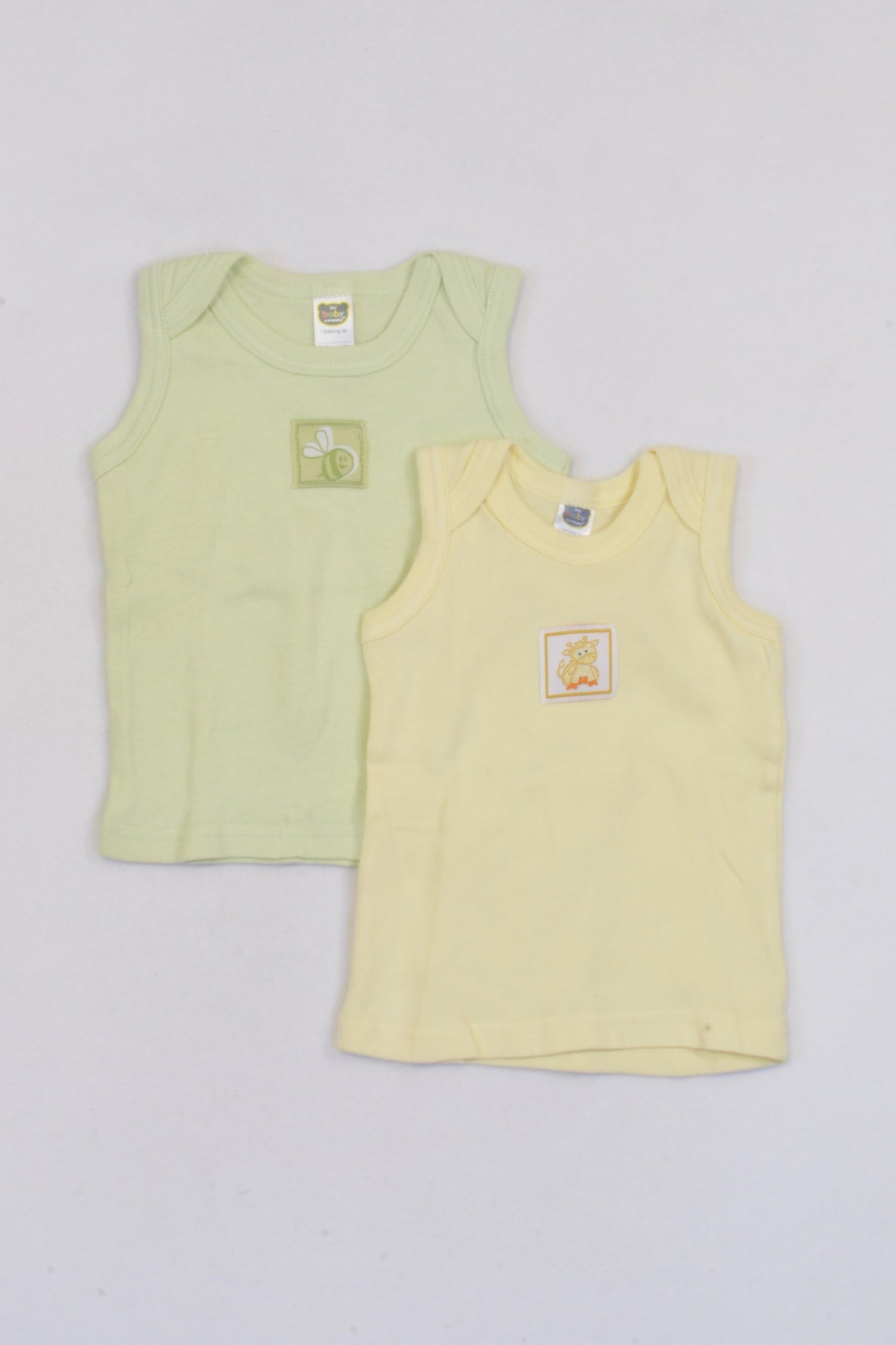 Ackermans 2 Pack Green & Yellow Vest Tops Unisex 3-6 months