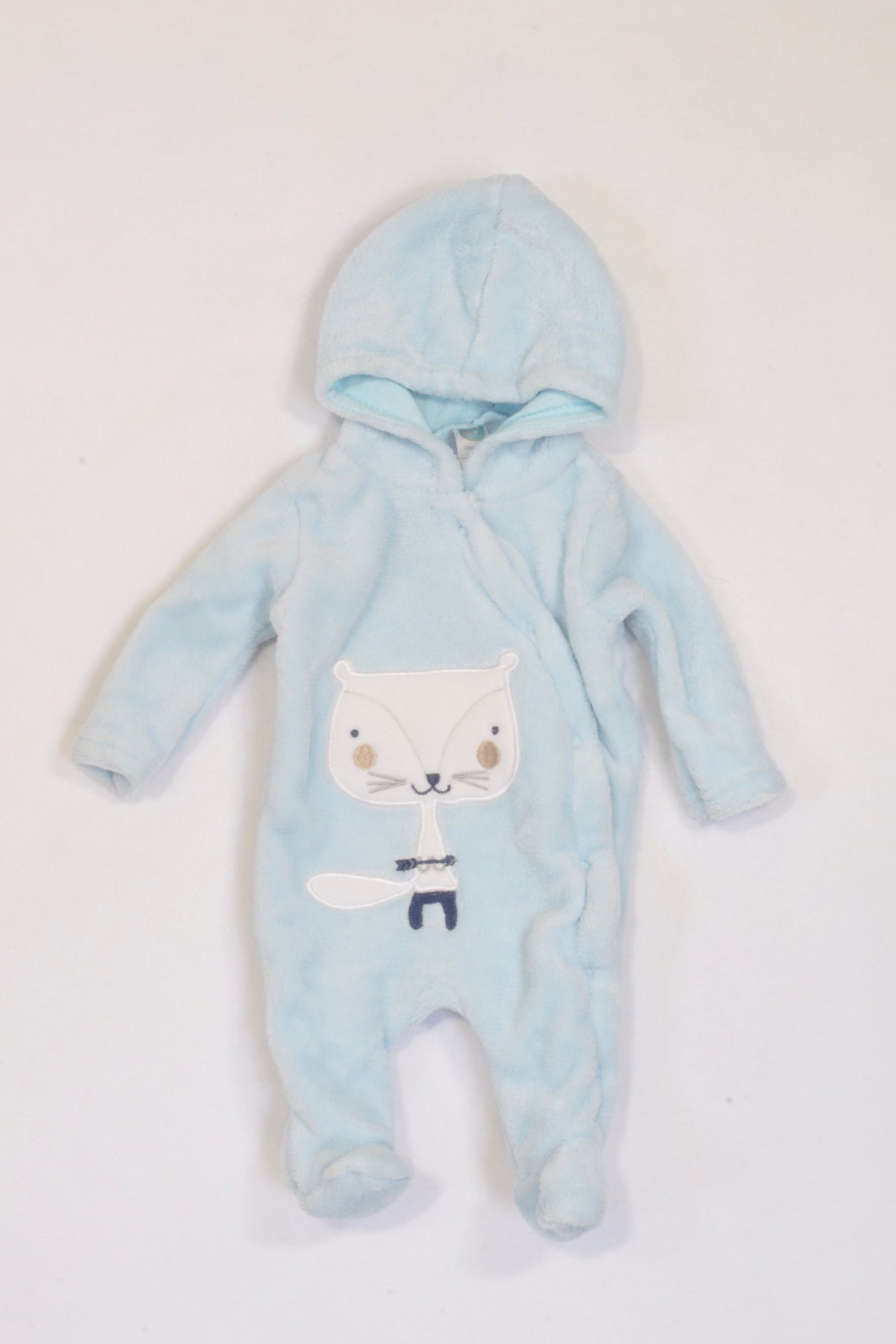 Ackermans Soft Blue Hooded Fleece Fox 1 of 2 Onesie Boys N-B
