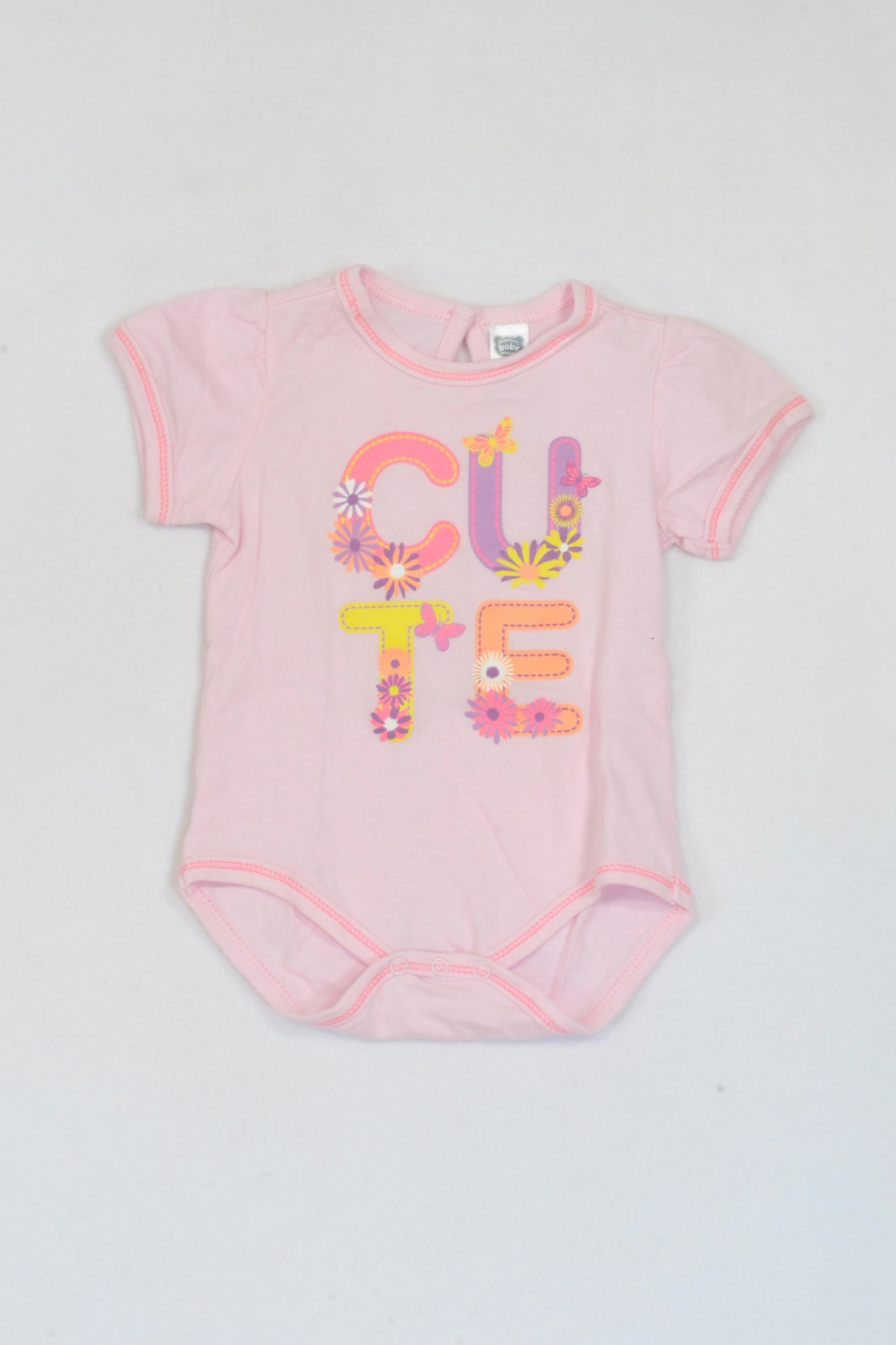 Ackermans Soft Pink CUTE Baby Grow Girls 6-12 months