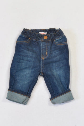 New Country Road Dark Stone Washed Roll-Up Jeans Boys 6-12 months