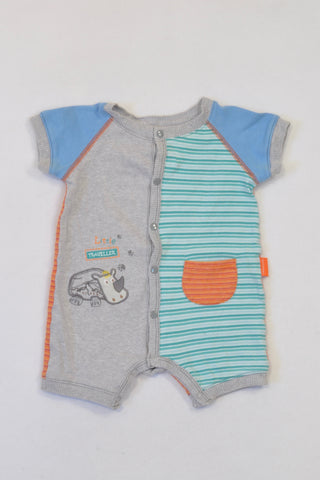 78ada8f59dda Woolworths Colour Block Striped Rhino Romper Boys 3-6 months