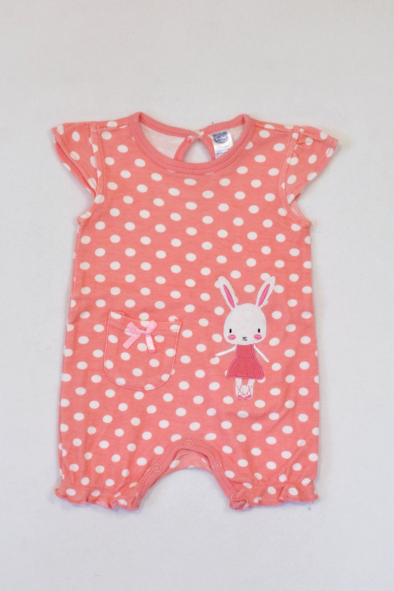 Ackermans Peach Bunny Dotty Romper Girls 0-3 months