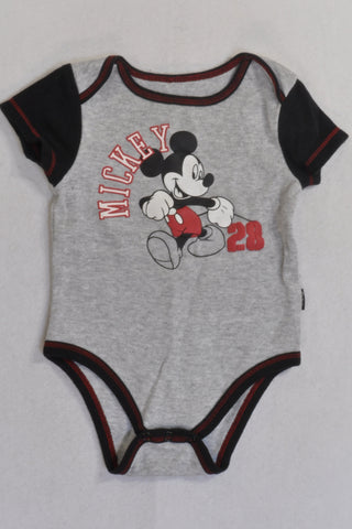 Grey And Black Detail Mickey 28 Baby Grow Boys 6-9 months