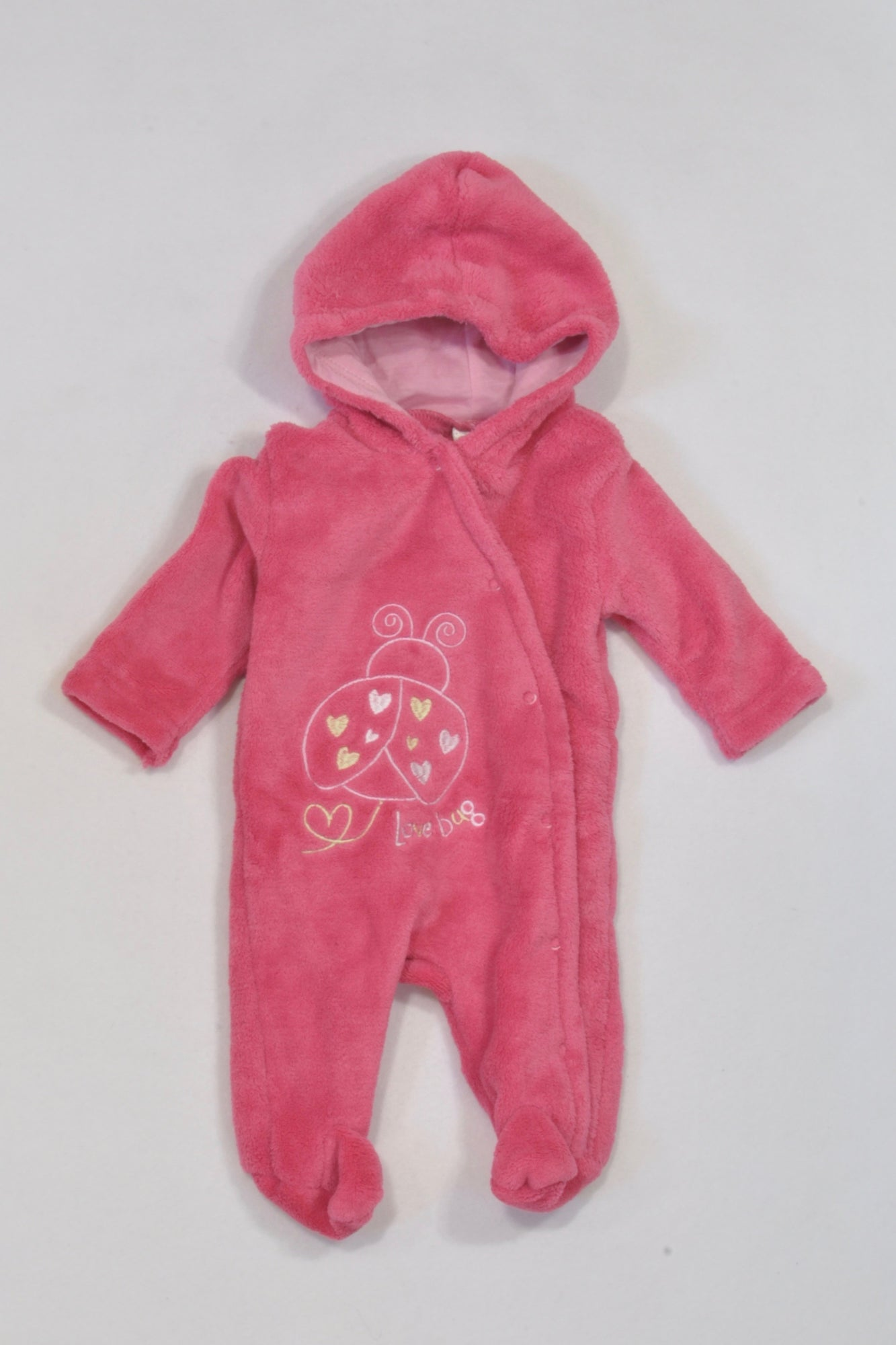 Ackermans Pink Fleece Love Bug Hooded Onesie Girls N-B