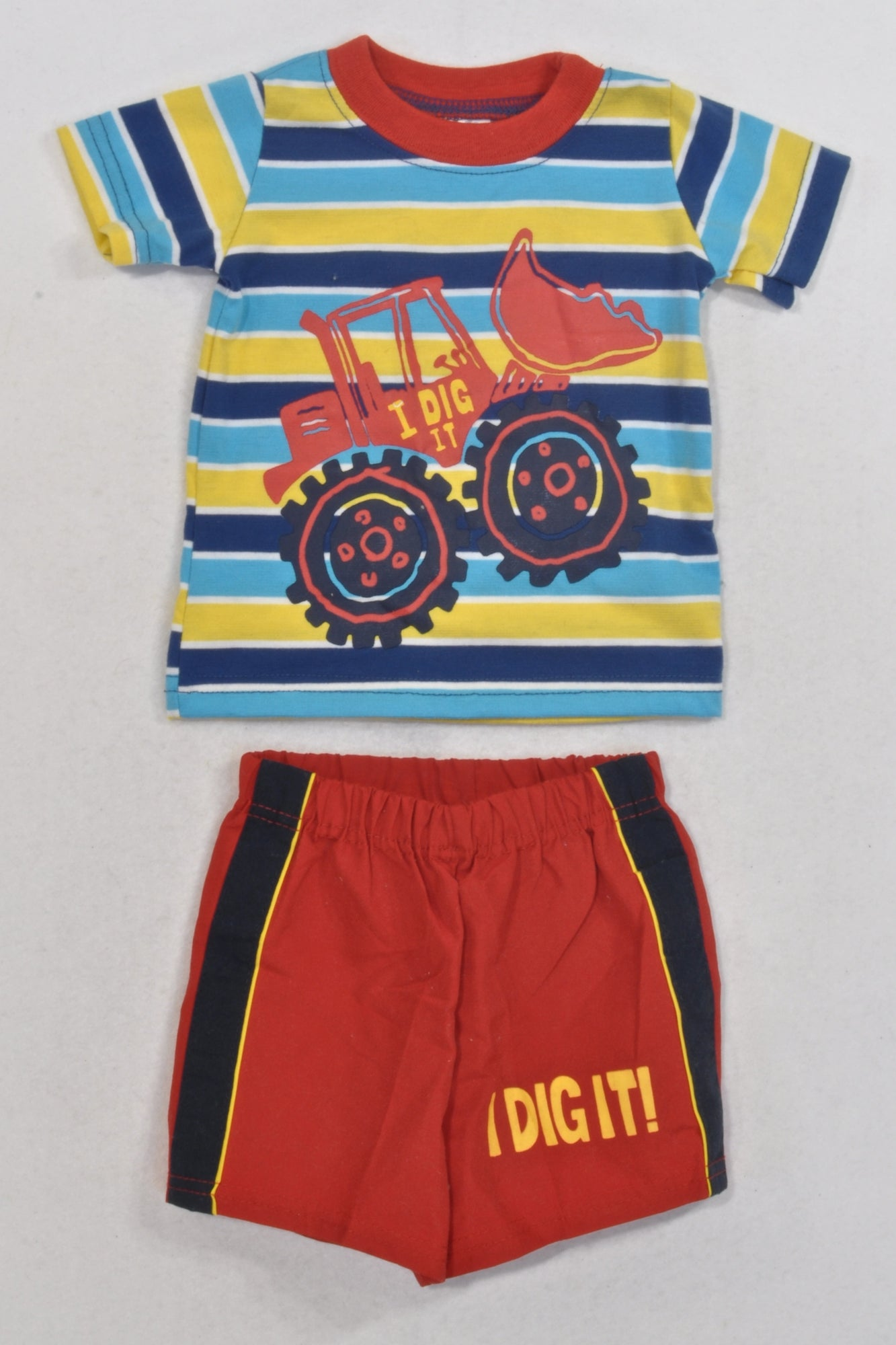 Dig It Blue and Yellow Striped T-shirt and Red Shorts Outfit Boys 0-3 months