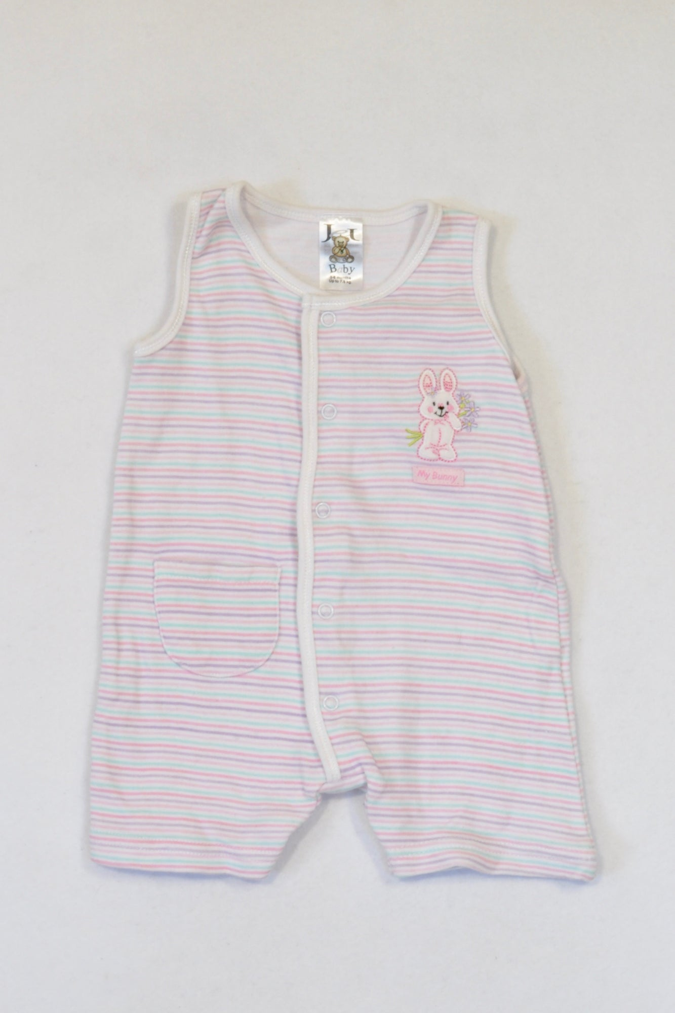 Edgars Purple & Pink Striped Romper Girls 3-6 months