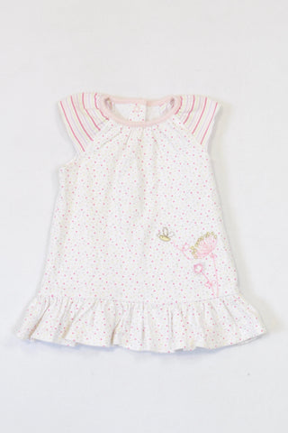 Marks and Spencers Multi Coloured Dotty Embroidered Bee Dress Girls 3-6 months