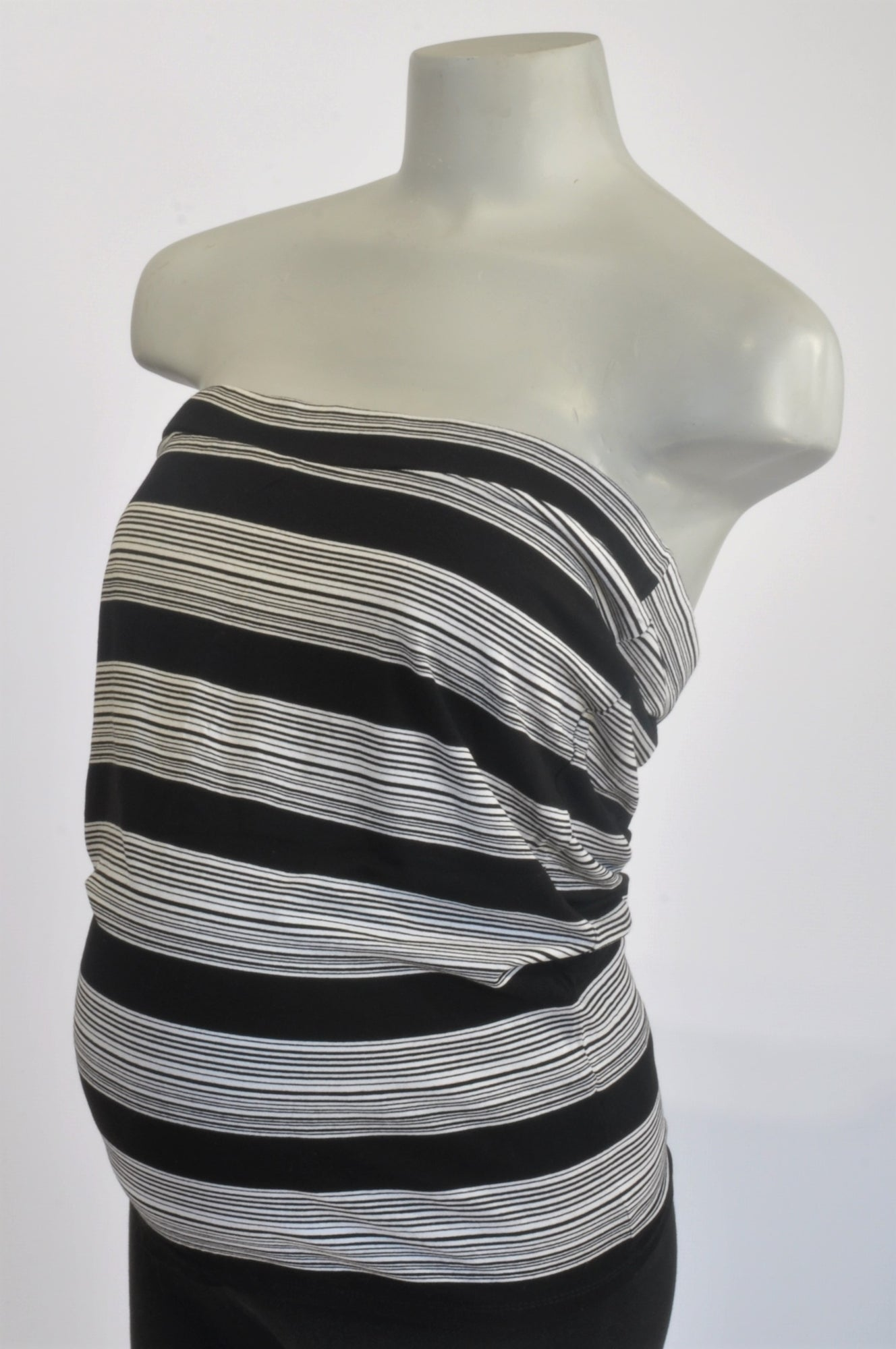 Next Black & White Stripe Boobtube Maternity Top Size 12