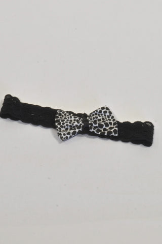Black Lace And Animal Print Bow Headband Girls 3-6 months