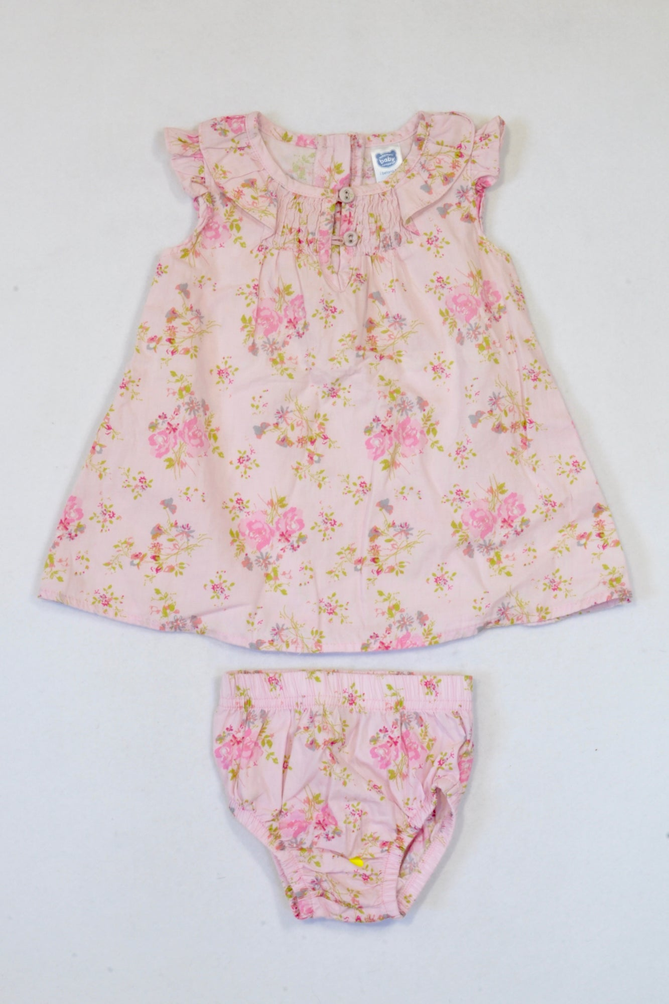 Ackermans Pink Floral Bloomers & Dress Girls 0-3 months