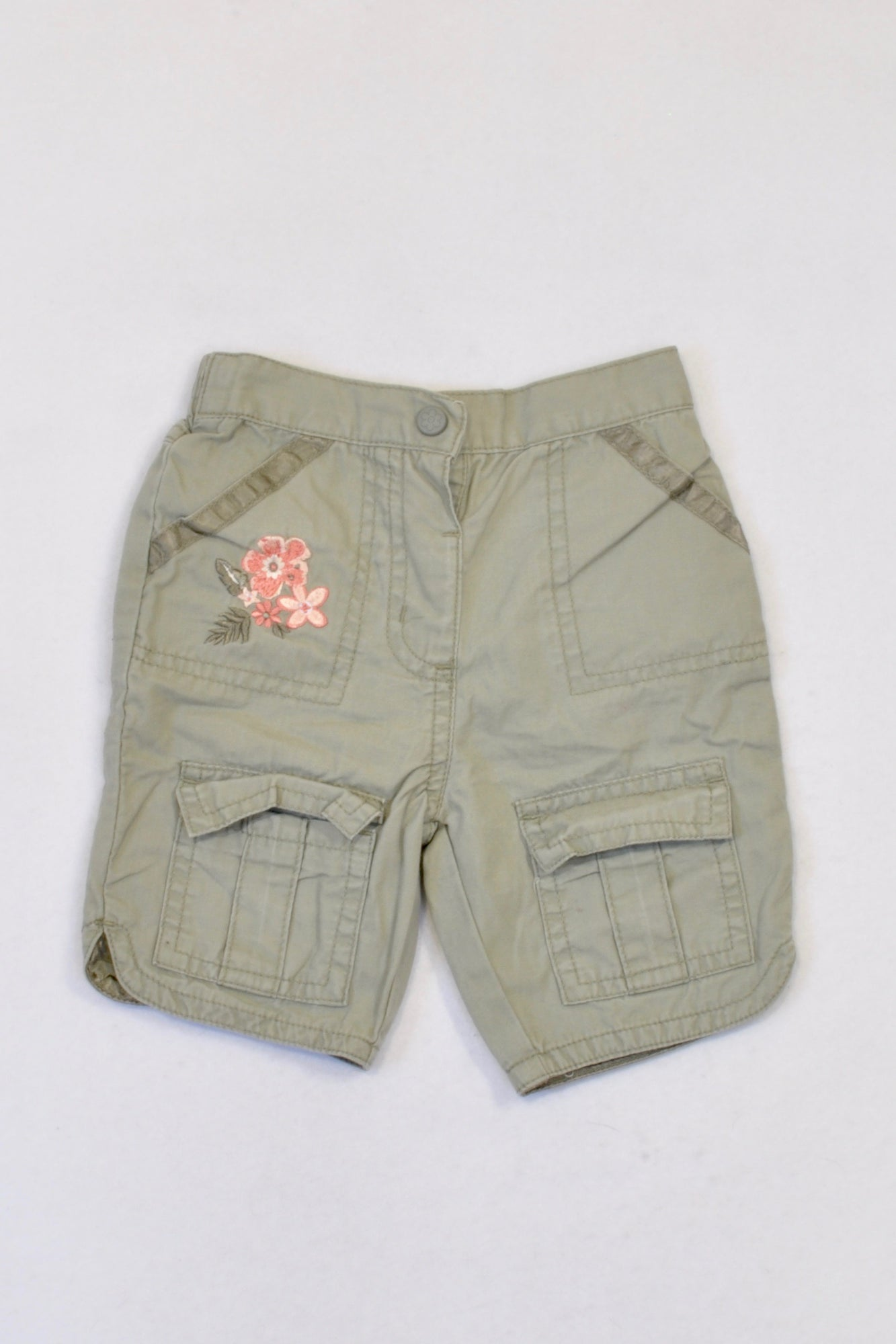 Adams Olive Embroidered Flower Shorts Girls 3-6 months