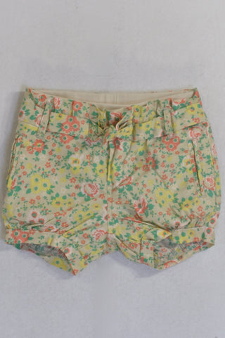 Beige and Yellow Flower Banded Shorts Girls 18-24 months