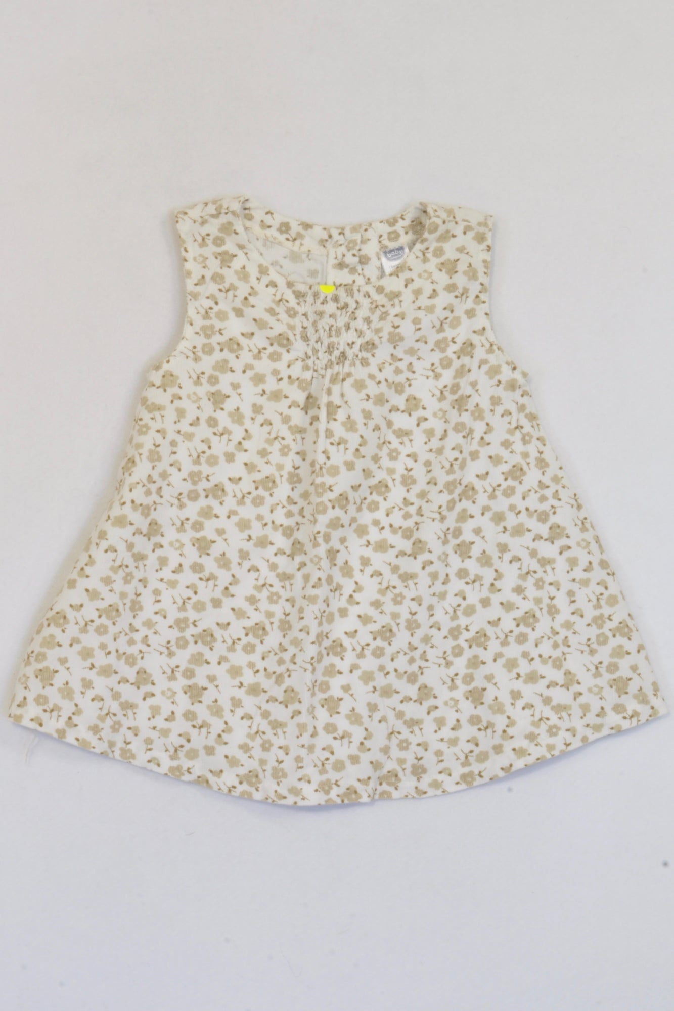 Ackermans Brown & White Floral Corduroy Dress Girls 6-12 months