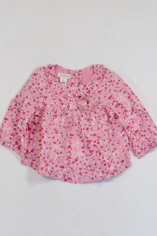 Monsoon Pink Floral Ditsy Pattern Blouse Girls 0-3 months
