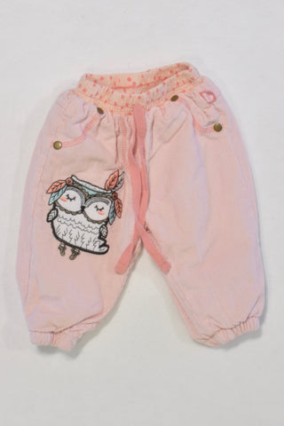 .Pink Owl Cords Girls 0-3 months