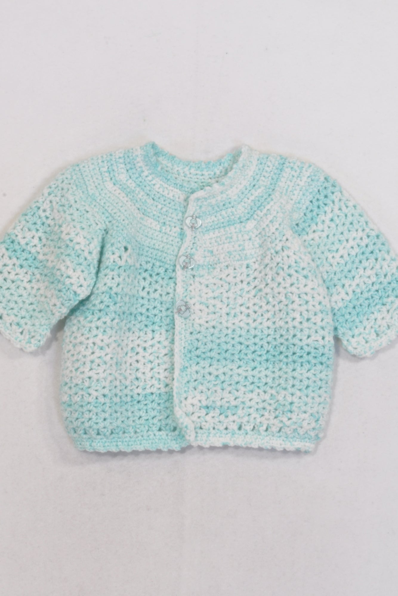 9eec9d59a5ed Baby Blue and White Knitted Cardigan Girls 0-3 months – Once More