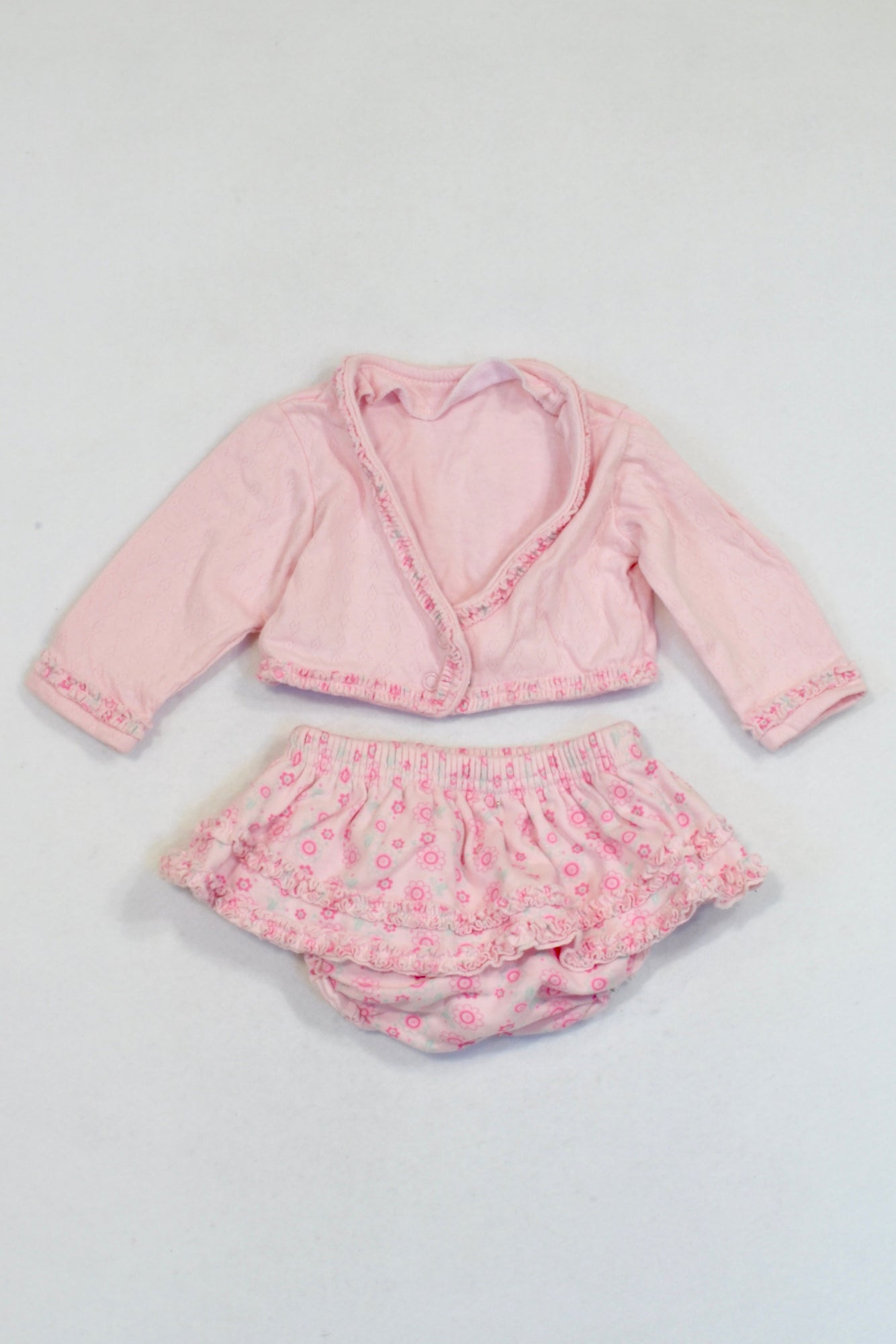 Woolworths Pink Floral Ruffle Cardigan & Bloomers Outfit Girls 0-3 months