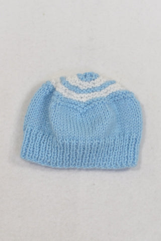 Blue And White Hand Knit Beanie Boys N-B