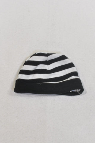 Black And White Stripe Beanie Unisex N-B