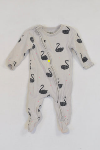 Cotton On Grey Swan Onesie Girls 0-3 months