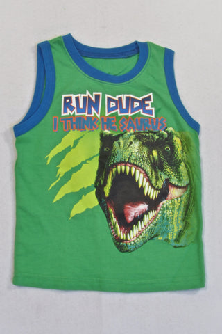 Woolies Green Dino Vest T-shirt Boys 2-3 years