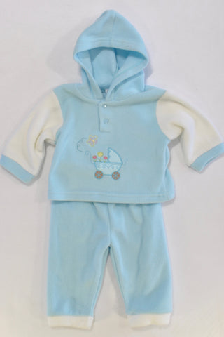 Baby Blue Fleece Tracksuit Boys 0-3 months
