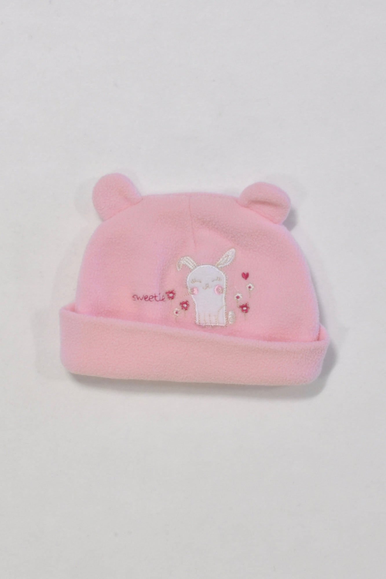 Pink Cat Fleece Beanie Girls 0-3 months