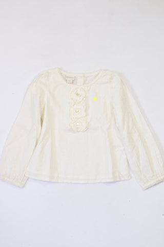 Monsoon Cream Textured Pin Dot Blouse Girls 5-6 years