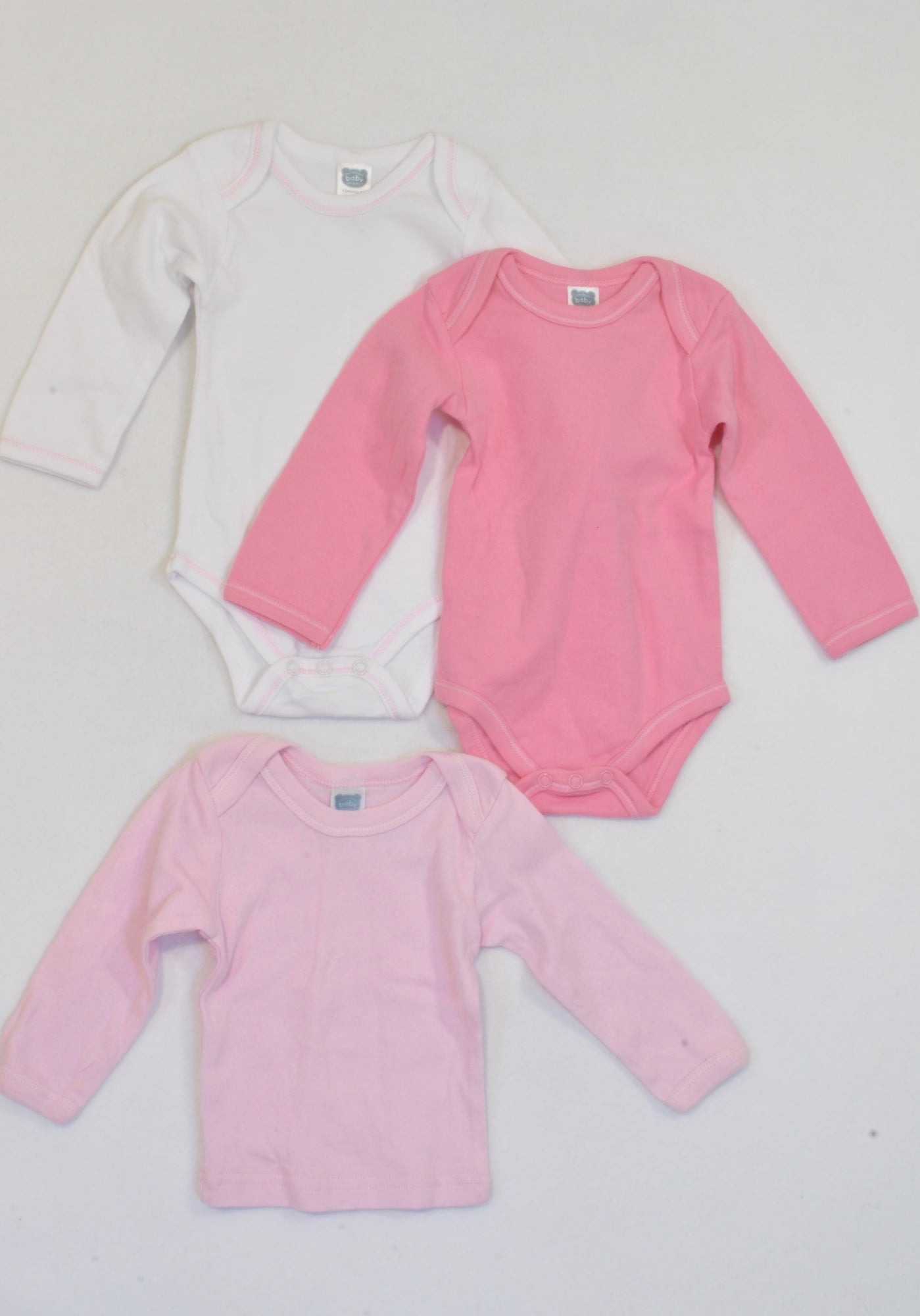 Ackermans 3 Pack Pink T-Shirt & Baby Grows Girls 0-3 months