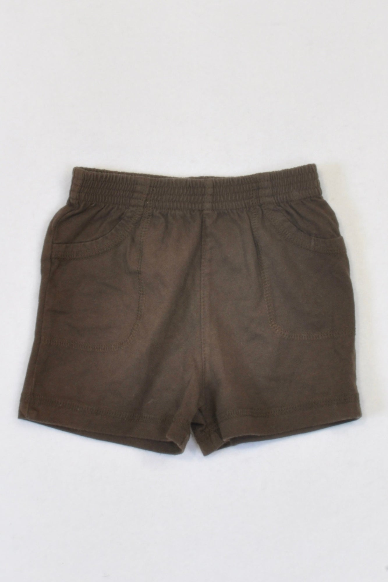 Okie-Dokie Basic Brown Play Shorts Boys 3-6 months