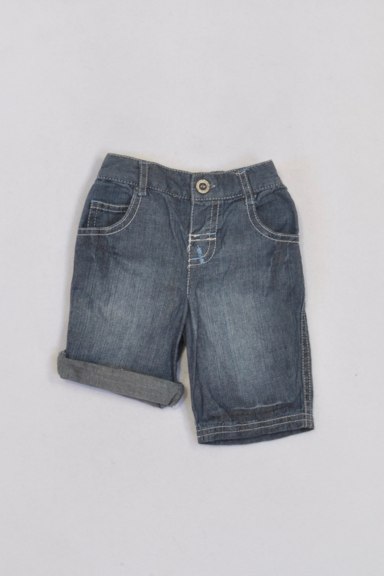 Matalan Stone Washed Roll Up Denim Shorts Boys 0-3 months