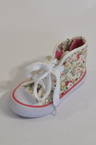 New Woolies Cream Sequin Floral High-Top Shoes Girls 12-18 months
