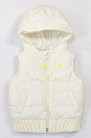 Old Navy Ivory Padded Frill Detail Body Warmer Girls 6-12 months