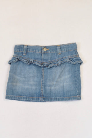 Old Navy Stone Washed Denim Ruffle Detail Skirt Girls 2-3 years