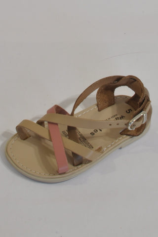 New Woolies Dark Beige And Pink Strappy Leather Sandals Girls 18-24 months