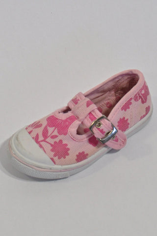 Pink Flower Print Shoes Girls 12-18 months