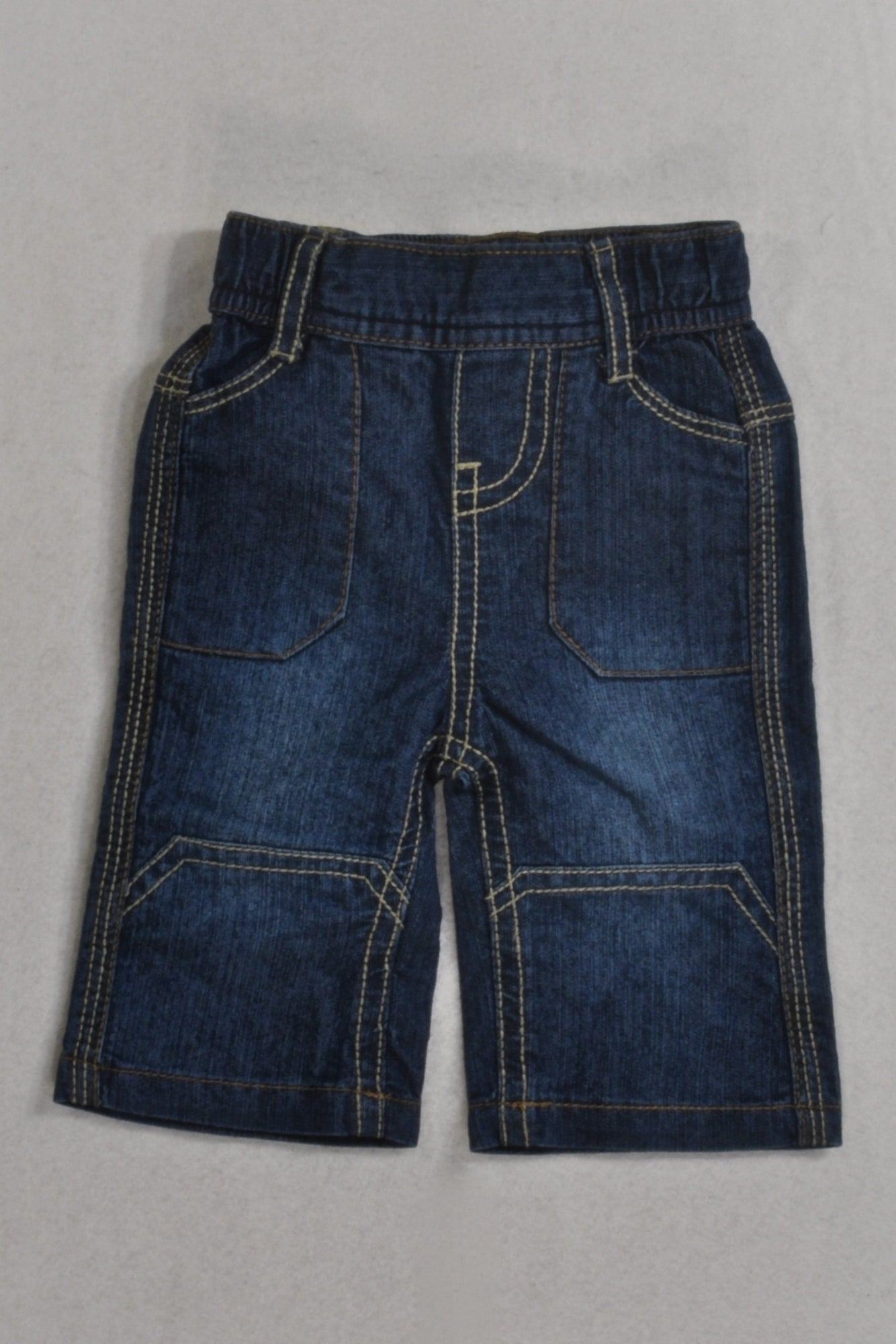 Denim Beige Stitch Jeans Boys 0-3 months