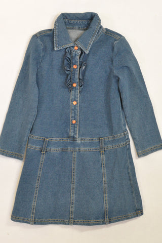 Stretch Denim Jewel Snap Shirt Dress Girls 3-4 years