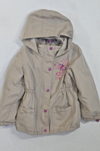 Beige Embroidered Butterfly Shell Jacket Girls 5-6 years