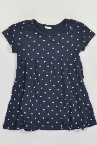H&M Navy Heart Dress Girls 18-24 months